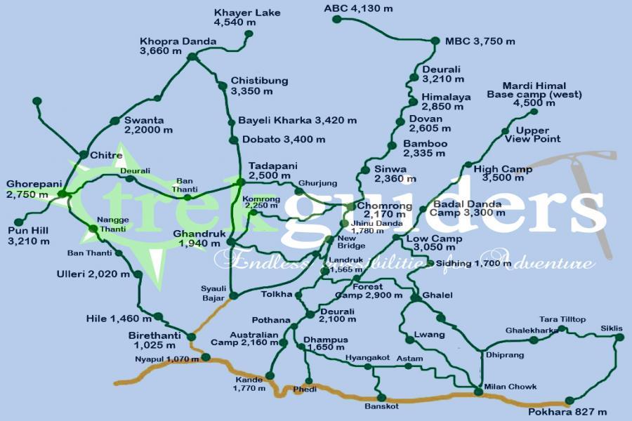Mardi Himal and Khopra Danda Trek Trip Route Map